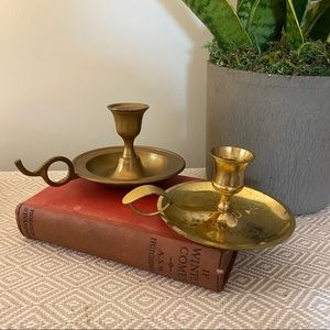 Vintage Accents - Vintage brass candle holders mis matched